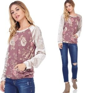 New! Floral Crew Neck Sweater Top